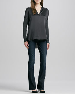 Vince Mixed Media Split-Neck Top & Taylor High-Rise Boot-Cut Jeans