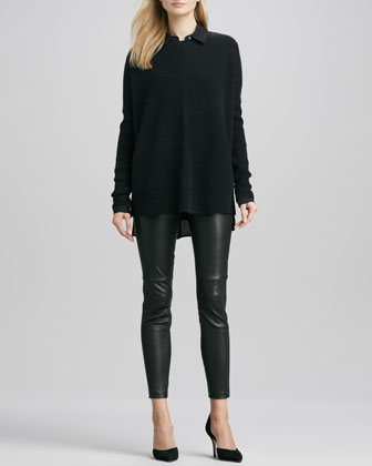 Chevron Crewneck Sweater, Button-Down Silk Blouse & Zipper-Cuff Cropped Leather Leggings