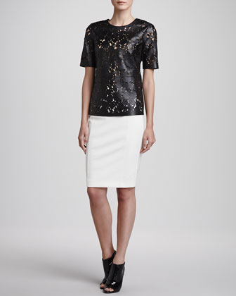 Laser-Cut Short-Sleeve Leather Top & Jersey Back-Zip Pencil Skirt