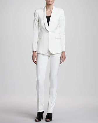 One-Button Twill Blazer & Straight-Leg Center-Seam Trousers