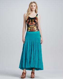 Jean Paul Gaultier Butterfly-Print Tankini & Tiered Tulle Maxi Skirt