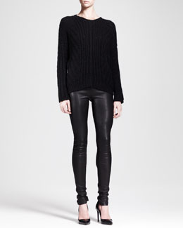 Helmut Lang Shifting Cord Pullover Sweater & Stretch Leather Skinny Pants