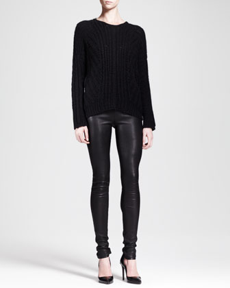 Shifting Cord Pullover Sweater & Stretch Leather Skinny Pants