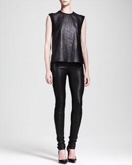 Helmut Lang Snake-Print Combo Tank and Stretch Leather Skinny Pants