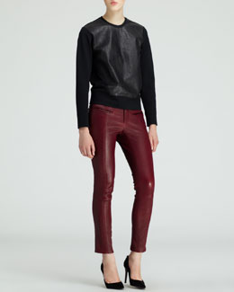 Helmut Lang Motion Leather-Front Sweatshirt and Cropped Leather Stovepipe Pants