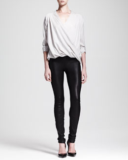 Helmut Lang Render Crossover Tab Blouse and Stretch Leather Skinny Pants