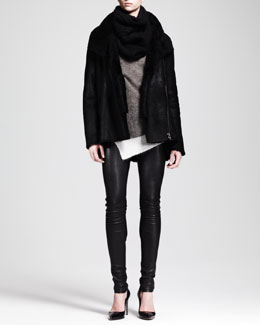 Helmut Lang Wrecked Shearling Coat, Brushed Asymmetric Sweater, Stretch Leather Pants & Cord Knit Snood