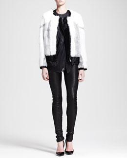 Helmut Lang Facet Fur Bomber Jacket, Liquid Sheen Cutaway Tank & Stretch Leather Skinny Pants