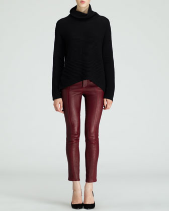 Ribbed Turtleneck Fly Sweater and Cropped Leather Stovepipe Pants
