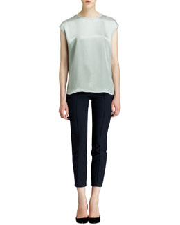 Helmut Lang Quantum Cap-Sleeve Top and Piped Stretch Cropped Pants