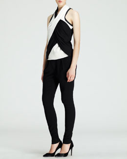 Helmut Lang Sleeveless Twisted Drape Top & Angled-Front Skinny Pants