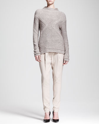 Linear Transfer Cable Sweater and Asymmetric Pleat-Front Pants