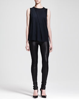 Helmut Lang Emission Asymmetric Pleat Top and Stretch Leather Skinny Pants