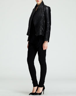 Helmut Lang Pitch Quilted Leather Jacket, Asymmetric Jersey Tank & Angled-Front Skinny Pants
