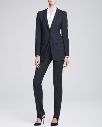 Long Unstructured One-Button Jacket & Slim-Leg Tab Trousers