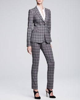 Armani Collezioni Long One-Button Jacket & Slim-Leg Tab Trousers