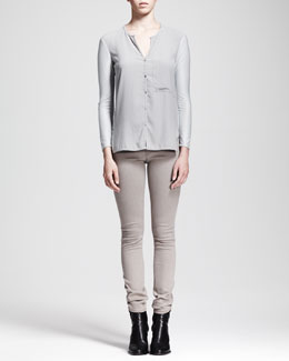 HELMUT Helmut Lang Nexa Buttoned Pocket Top and Gravel Denim Leggings