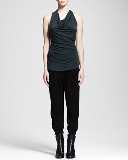 HELMUT Helmut Lang Nova Cowl-Neck Jersey Top and Nexa Dropped Slouchy Pants