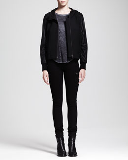 HELMUT Helmut Lang Hooded Leather-Sleeve Jacket, Chalk Long-Sleeve Top & Bat-Wash Moto Jeans
