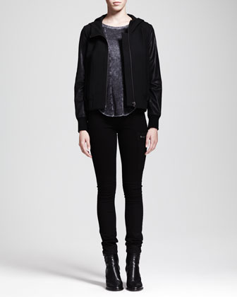 Hooded Leather-Sleeve Jacket, Chalk Long-Sleeve Top & Bat-Wash Moto Jeans