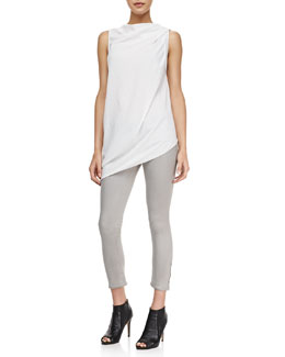 HELMUT Helmut Lang Draped Sleeveless Crepe Top & High-Gloss Cropped Zip Skinny Pants