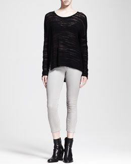 HELMUT Helmut Lang Destroyed Boucle Sweater and High-Gloss Cropped Zip Skinnies
