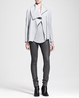 HELMUT Helmut Lang Kinetic Shirttail Tank, Villous Sweatshirt Zip Jacket & High-Gloss Pants
