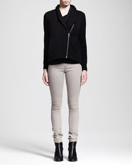 HELMUT Helmut Lang Villous Sweatshirt Zip Jacket, Nova Cowl-Neck Top & Gravel Denim Leggings