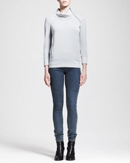 HELMUT Helmut Lang Villous Zip-Neck Pullover and Medium Blue Denim Leggings
