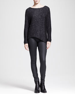 HELMUT Helmut Lang Flecked Metallic Asymmetric Sweater and Waxy Stretch Leggings