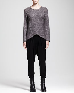 HELMUT Helmut Lang Flecked Arced Sweater and Nexa Dropped Slouchy Pants
