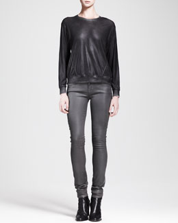 HELMUT Helmut Lang Coated Crewneck Sweatshirt and High-Gloss Pants