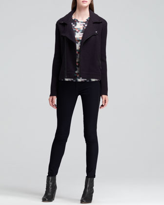 Jenna Wool Moto Jacket, Long-Sleeve Geometric Tee & The Bomber Leather-Piped Jeans
