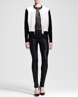 Helmut Lang Gloss Knit Baseball Jacket, Fractal Applique Tank & Stretch Leather Skinny Pants