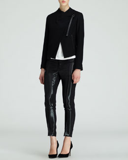 Helmut Lang Sonar Wool Crossover Jacket, Silver-Print Jersey Top & Wet-Look Stovepipe Pants