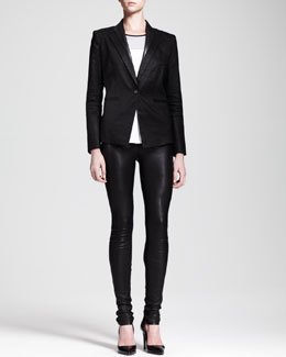 Helmut Lang Glossy Linen Twill Blazer, Ion Jersey Colorblock Top & Stretch Leather Skinny Pants