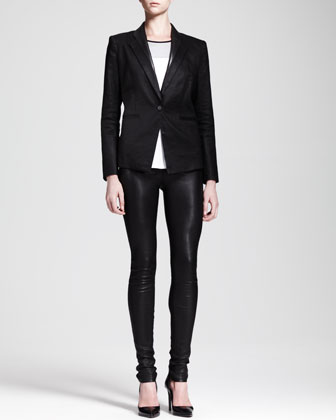 Glossy Linen Twill Blazer, Ion Jersey Colorblock Top & Stretch Leather Skinny Pants