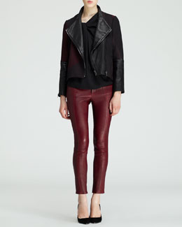 Helmut Lang Crash Jacquard Combo Jacket, Render Twist-Neck Top & Cropped Leather Stovepipe Pants