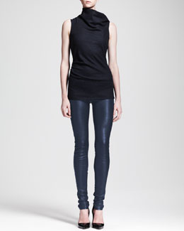 Helmut Lang Sonar Wool Asymmetric-Neck Top & Leather Leggings