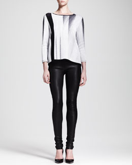 Helmut Lang Virga Jacquard Knit Sweater and Stretch Leather Skinny Pants