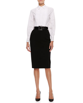 Pleated-Bib Blouse, High-Waist Pencil Skirt & Thick Alligator Belt