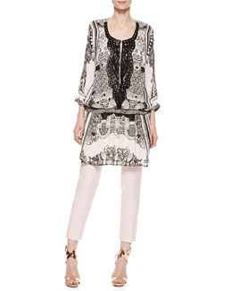 Roberto Cavalli Leather-Bib Printed Georgette Tunic & Wool-Linen Ankle Pants