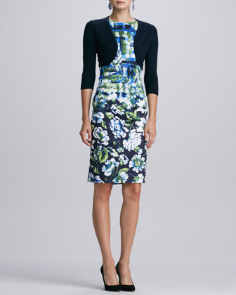 Cashmere-Silk Bolero & Sleeveless Mixed Floral-Print Dress