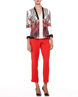 Etro Open-Front Paisley Jacket, Faux-Wrap Silk Blouse & Cady Straight-Leg Capri Pants