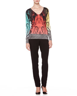 Etro Mixed-Pattern Knit Top & Straight-Leg Cady Pants