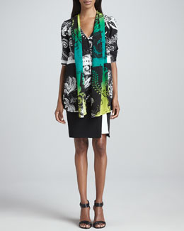 Etro Shawl-Detailed Tunic & Contrast-Detailed Skirt