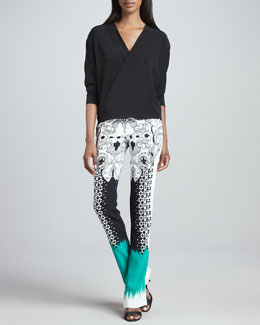 Etro Faux-Wrap Silk Blouse & Mixed-Print Flared Pants