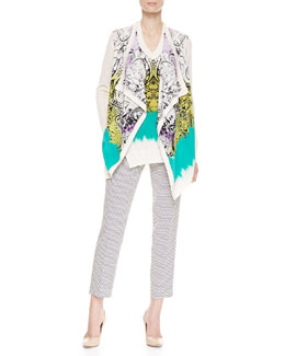 Etro Printed Cascade Cardigan, Silk-Front Top & Cravat-Print Cropped Pants