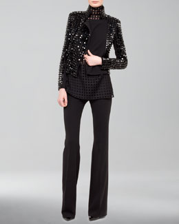 Akris Hilton Studded Moto Jacket, Mock-Neck Grid-Weave Blouse & Farrah Wool Boot-Cut Pants
