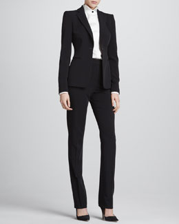 Giorgio Armani One-Button Slip-Pocket Jacket, Contrast-Button Silk Tuxedo Blouse & Straight-Leg Suiting Pants